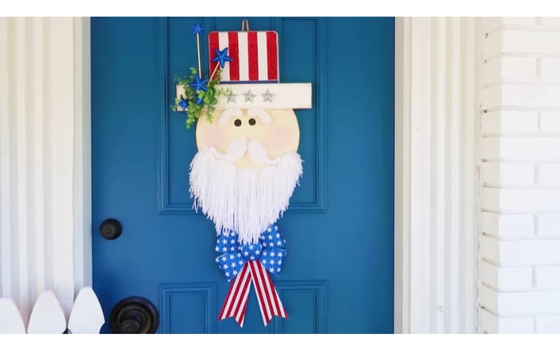 Uncle Sam-themed door hanger made from kraft cardstock and glitter paper