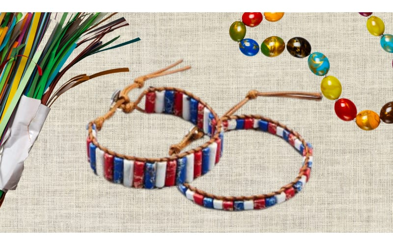 Patriotic-themed tubular paper bead bracelets strung with leather cord