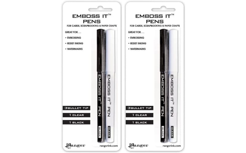 2 packs of Emboss It Embossing Pens in clear and black ink