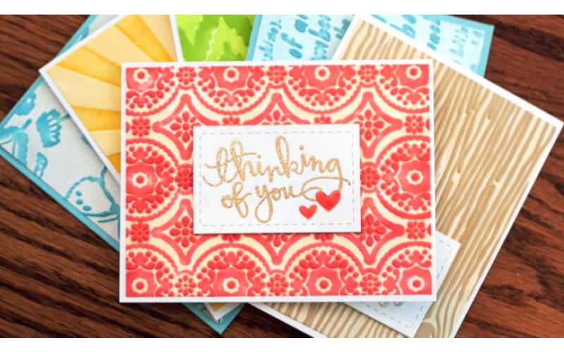 A few wet embossed greeting cards
