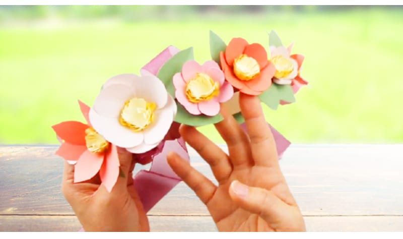 Cinco de Mayo flower crown for every girl made from construction paper and ribbon