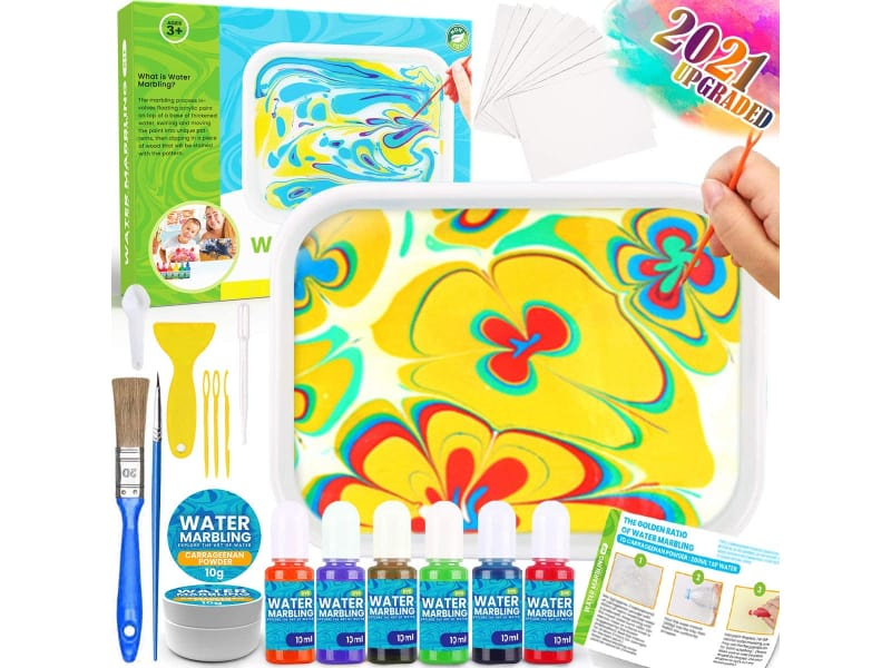 Catcrafter Spin Art Kit Best Paper Marbling Kit For Kids includes paint, carrageenan, tray, brush, and needles