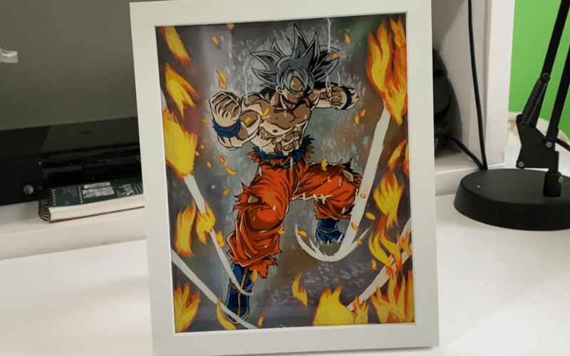 Finished 3D anime glass painting - Image by Draw Ninja KC