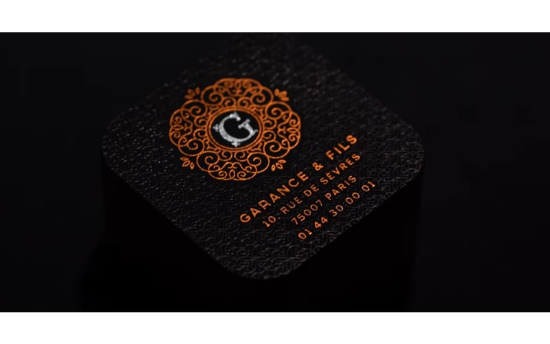 a luxury business card made with the registered embossed method
