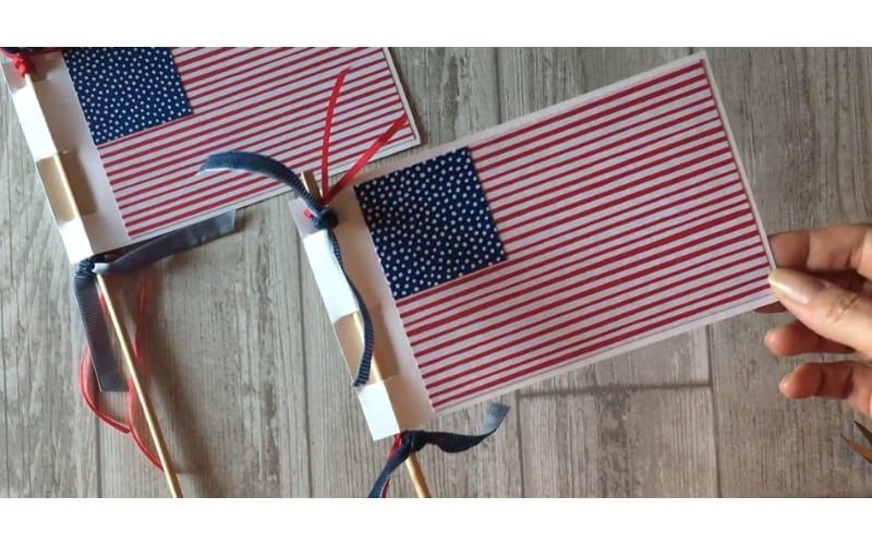 American flag made from cardstock to use for the Memorial Day parade