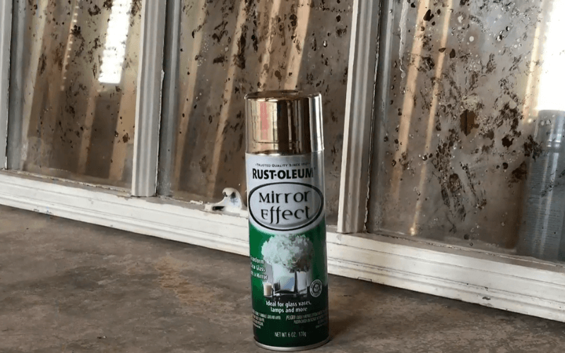 Antique glass on farmhouse windows made with Rust-Oleum