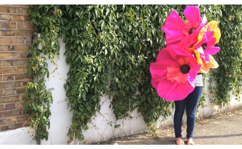 Giant flowers made from tissue paper and crepe paper