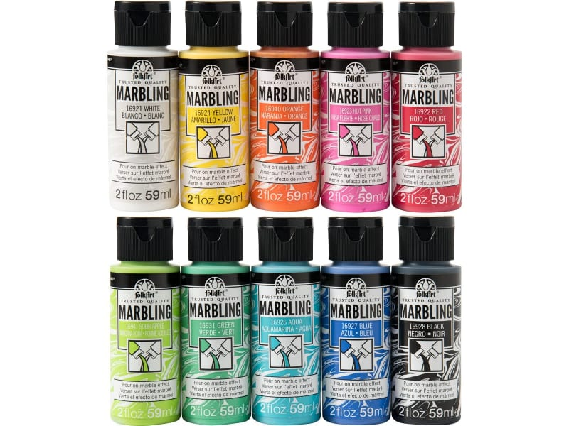FolkArt Paper Marbling Kit consists of 10 colors of marbling paint