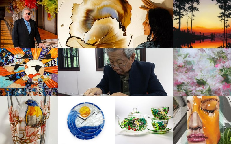 A collage of 10 glass painting artists who influenced the world of art