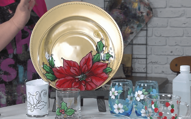A glass plate and glasses with reverse paintings - Image by DecoArt Inc.