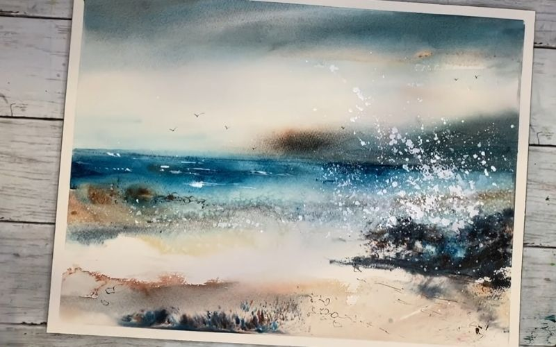 A seascape abstract using salt for details
