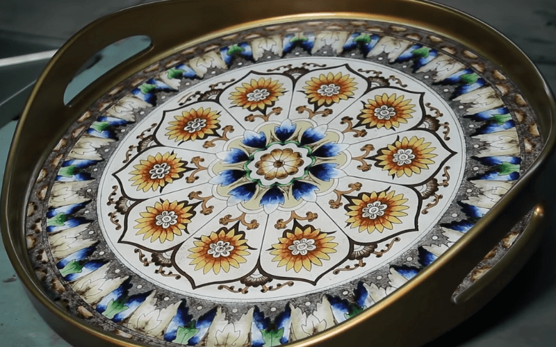 A tray with a reverse glass painting made by Peruvian artisans - Image by Novica