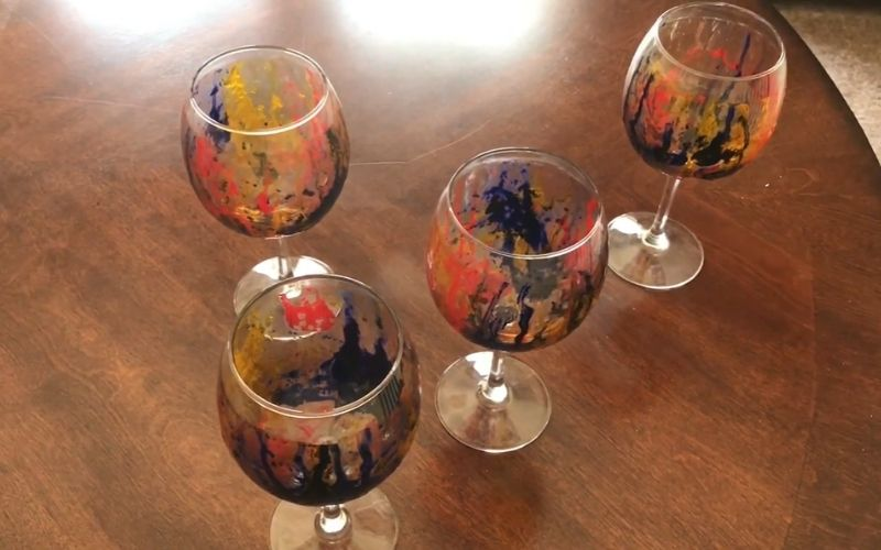 Abstract Painting on Wine Glasses