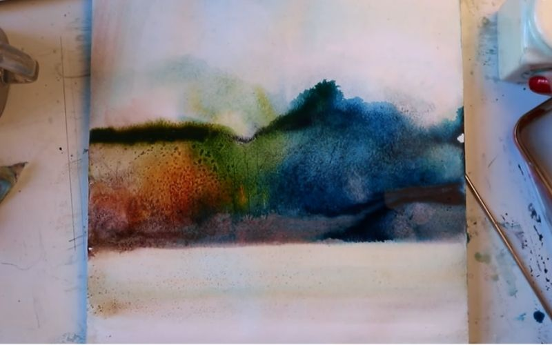 Abstract watercolor painting of a landscape