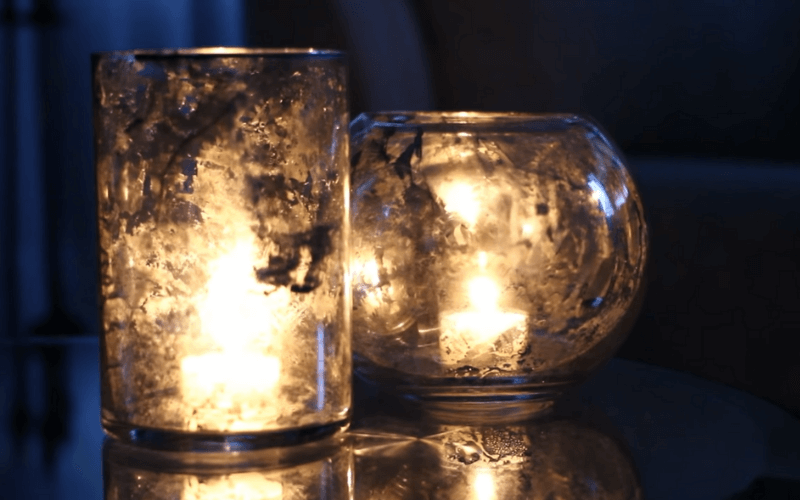 DIY Mirror glass candleholders made with mirror spray paint - Image by Sarah Tran