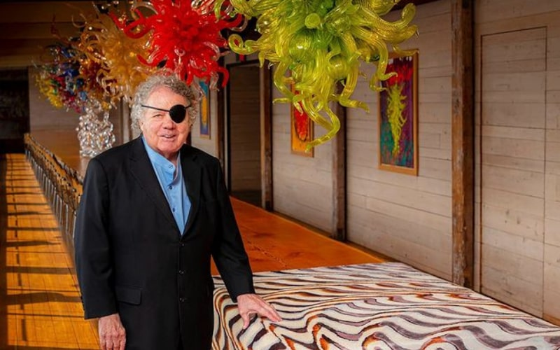 Dale Chihuly with his blown glass sculptures - Image by Chihuly Studio