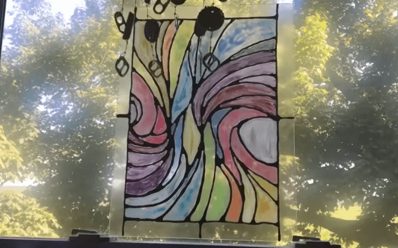 Easy fake stained glass painting - Image by Drunk Crafts with Paige