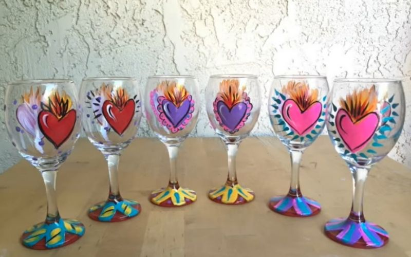 Eclectic Hearts on Wine Glasses