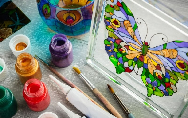 Faux stained glass painting