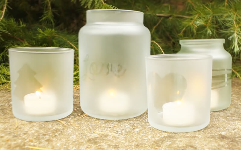Frosted glass jars after removing the mask - Image by Christmas Crafts