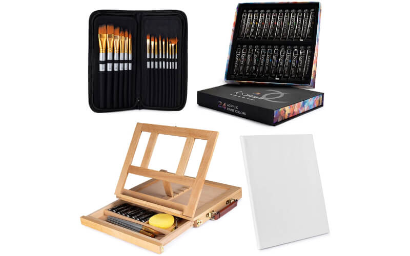 Loomini painting set including an adjustable easel, paint brushes, acrylic paint, and canvas