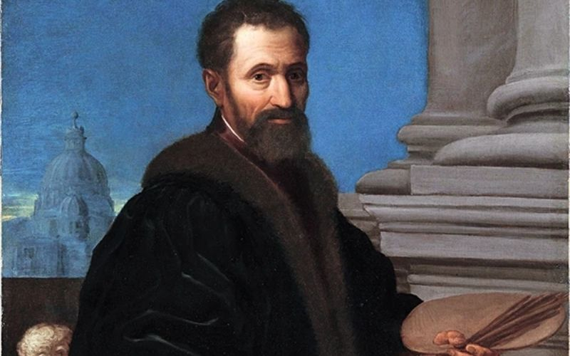Michelangelo holding a wooden palette and brushes