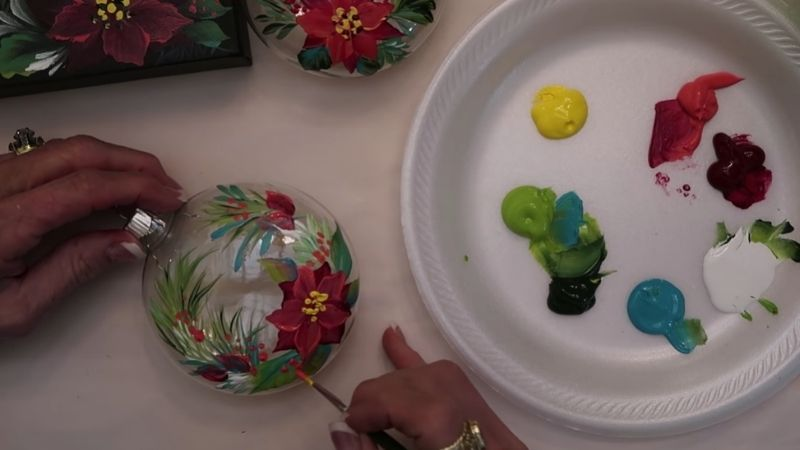 Painting glass Christmas ornaments