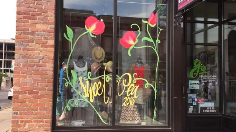 Paintings on a boutique window