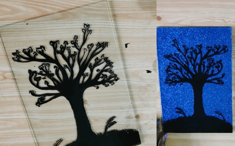 Silhouette reverse glass painting - Image by CraftyHanzArt