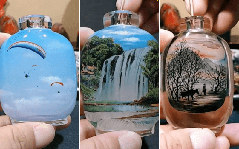 Snuff bottles with reverse glass paintings - Image by Sol Rios