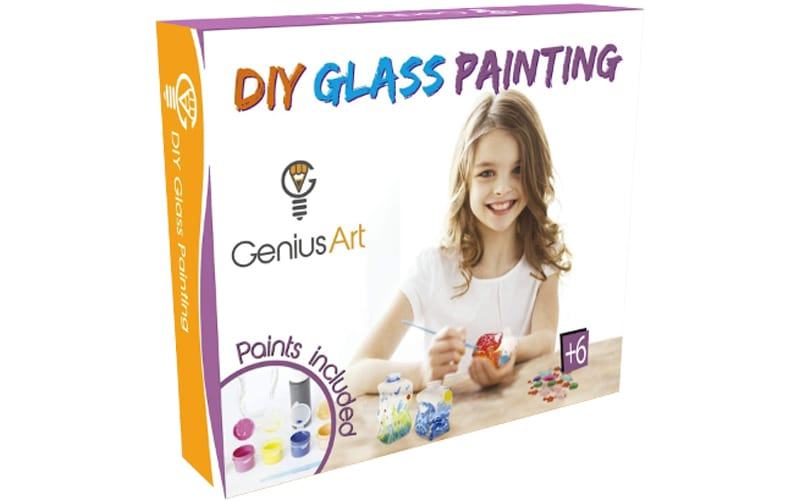 a box of DIY glass paintings for children