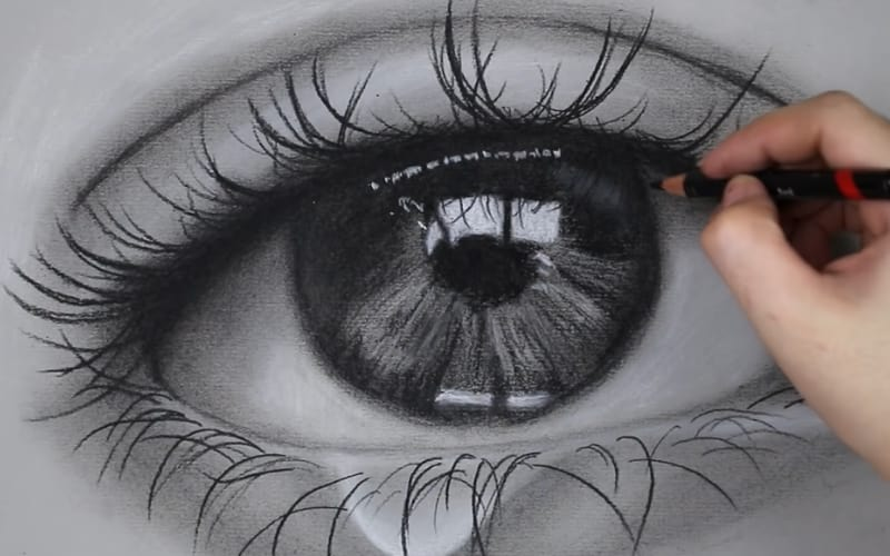 A charcoal drawing of an eye - Image by Genelyn Sandaga