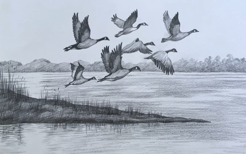 A charcoal painting of black geese in flight - Art Easel & Pencil