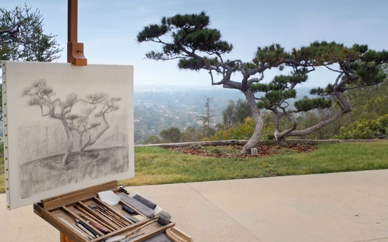 A charcoal sketch of a landscape drawn at location - by Getty Museum