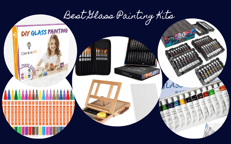a collage of 5 glass painting kits