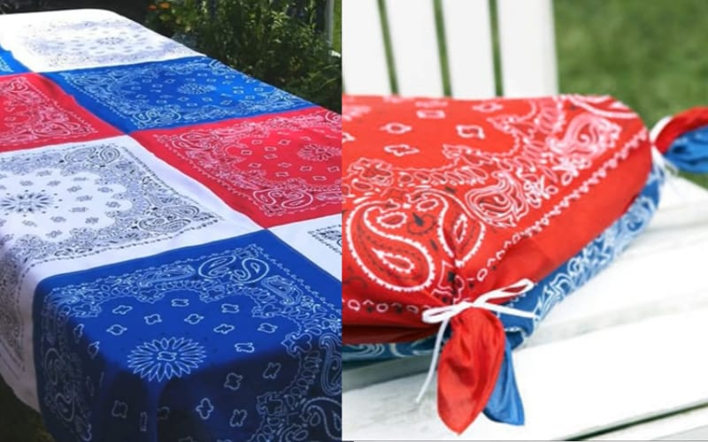 a collage of tablecloth and a seat cushion made from bandanas