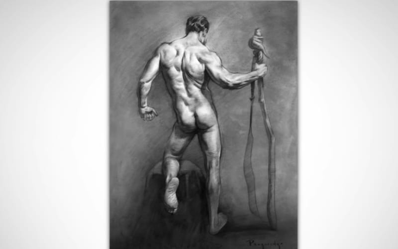 A figure drawing showing how contrast works - Image by Proko