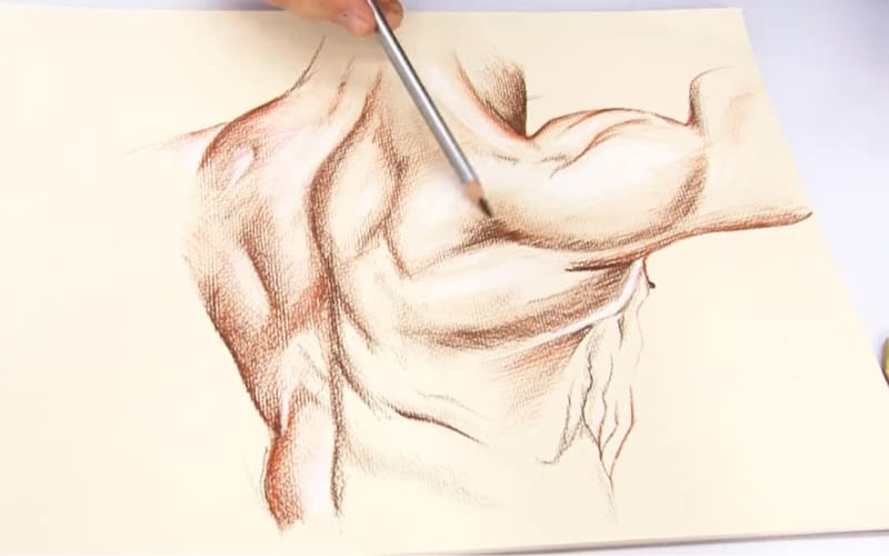 A figure drawing using colored charcoal - Image by Mont Marte Art