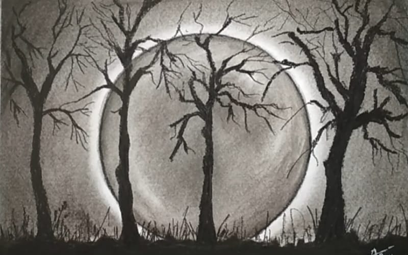 A full moon behind the trees - Image by Rajpurohit Painting