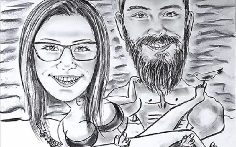 A funny caricature of a couple on the beach - Image by How to -Easy to do