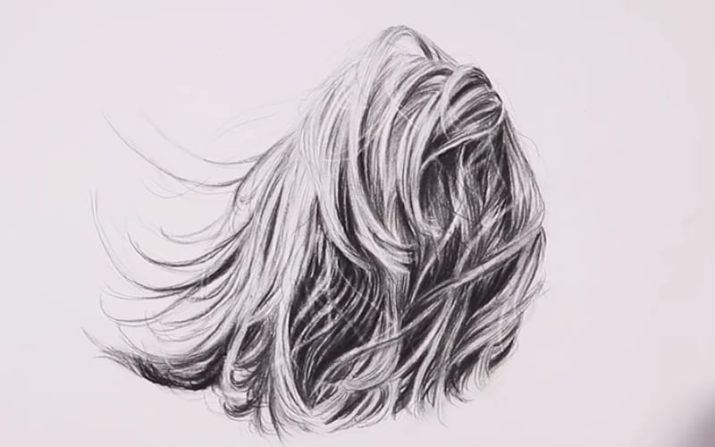 A hair study in charcoal - Image by Kirsty Partridge Art