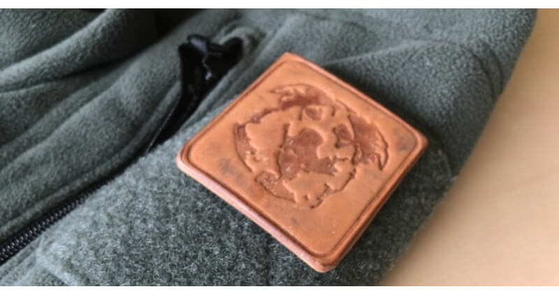 a leather label stamped with a leather stamp made with a 3D printer