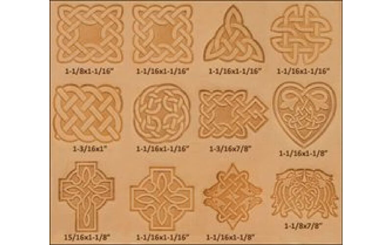 a leather piece embossed with different Celtic knots