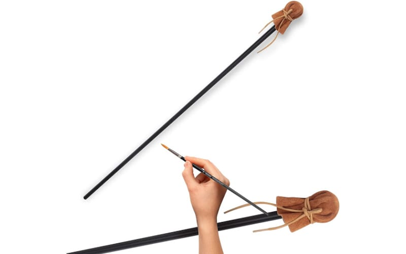 a mahl stick with a leather-covered head