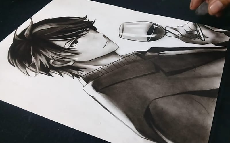A manga character in a suit - Image by Art with Lizard