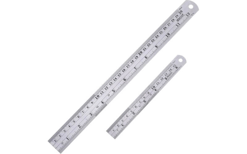 a pair of stainless steel rulers