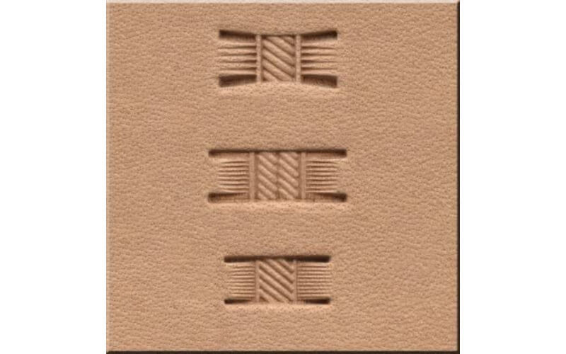 a piece of leather stamped with three different types of basic basketweave design