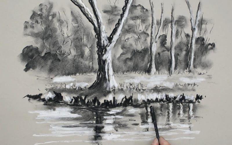 A representational landscape of a river - Image by Paul Priestly