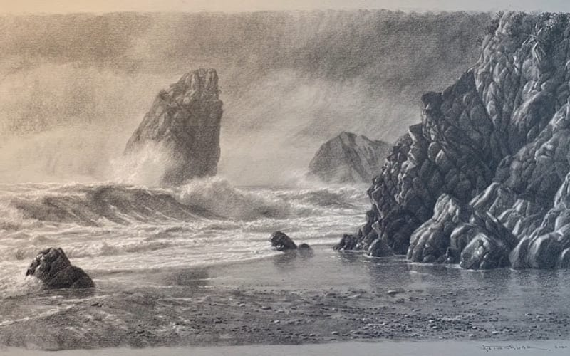 A seascape of a turbulent sea with ragged rocks - Image by Smoothie77 Drawing & Painting
