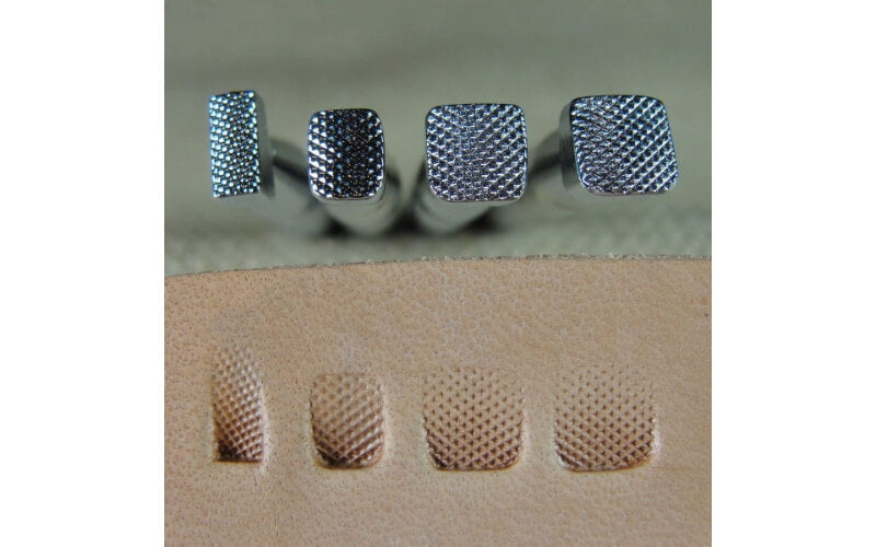 a set of checkered beveler stamps and a sample of the patterns they make on leather